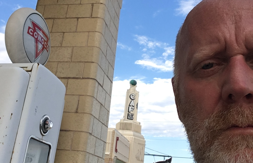 Jogging through Shamrock, TX, at that Art Deco gas station. Such history in that place. And face.